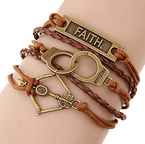 [Time Pawnshop Retro Faith Handcuffs Bow and Arrow Braided Multilayer Handmade Bracelet] (Mechanic Costume Diy)