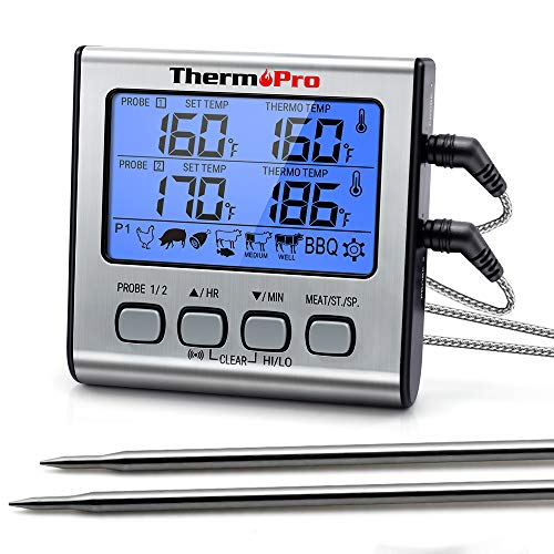 ThermoPro TP-17 Dual Probe Digital Cooking Meat Thermometer Large LCD