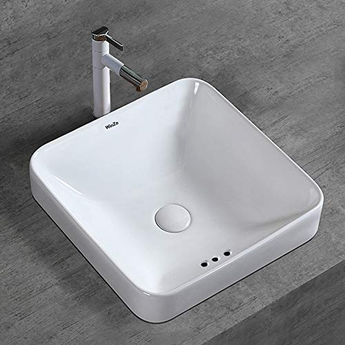 WinZo WZ6173 Bathroom Semi-Recessed Vessel Sink,Square Slim Design,Drop-in Vanity Countertop Porcleain ceramic basin white