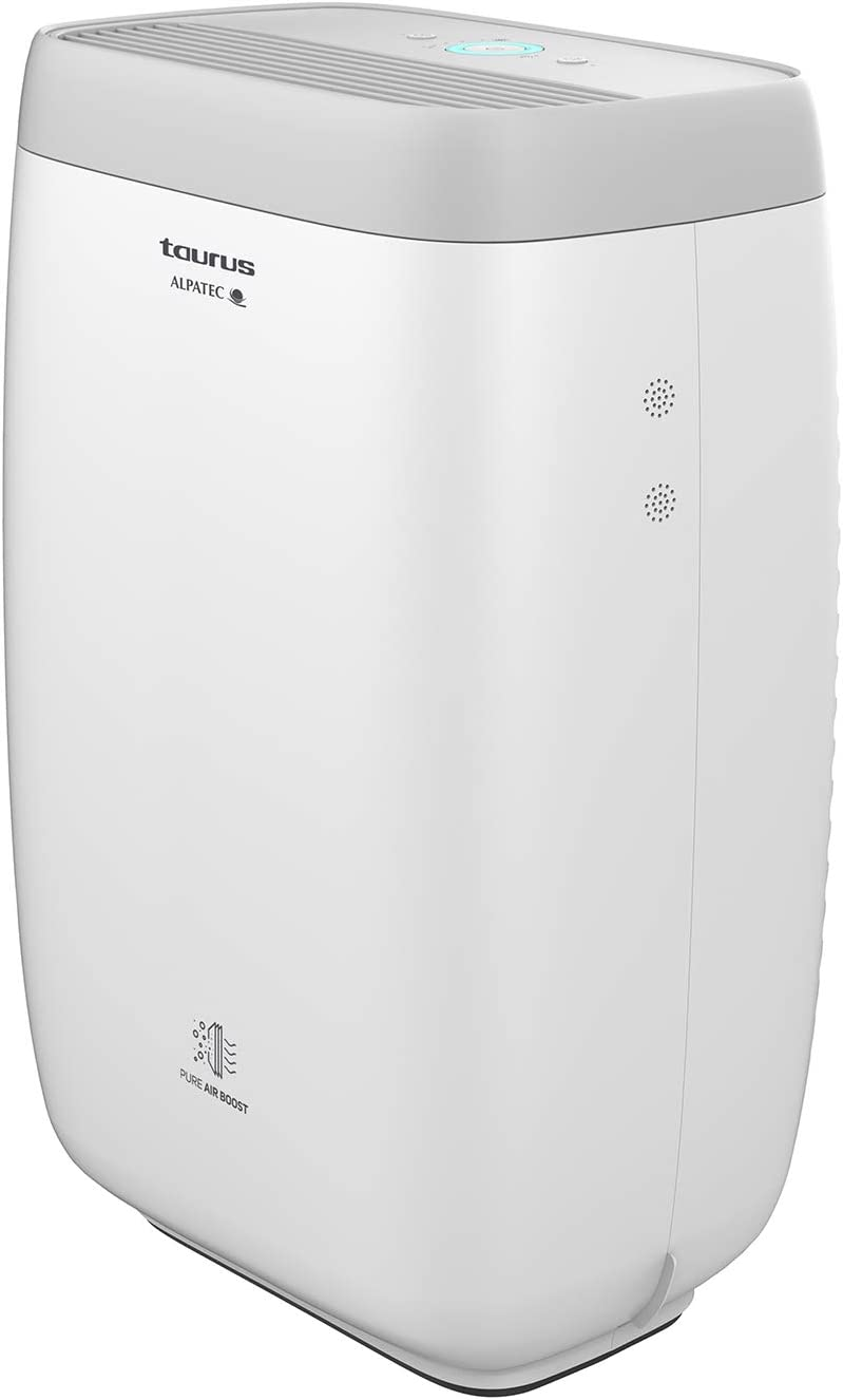Taurus AP2040 Purificador de aire Hogar Oficina, Air Purifier con sensor nivel contaminación, Filtración Triple, EPA, carbón activo, 18/8 Stainless Steel, Acero inoxidable