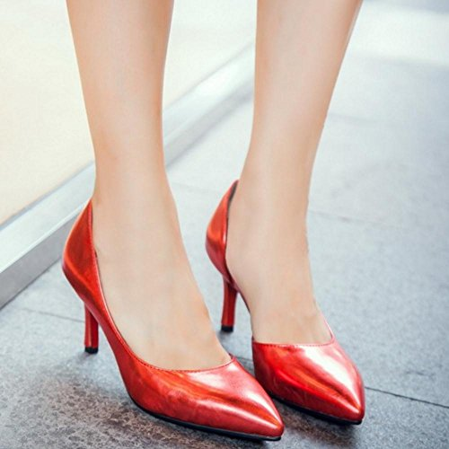 Chaussures Talons Talon chaton On Moyens de Simple Rouge Femmes D'Orsay COOLCEPT Slip Court wP1RxEXqnn
