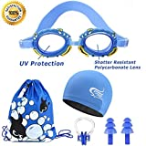 Swim Goggles For Kids | Mirrored Swimming Goggles No Leaking Anti Fog UV Protection - Free Protection Easy Adjustment With Cartoon Waterproof Swim Cap With Nose Clip, Ear Plugs and Carry Bag