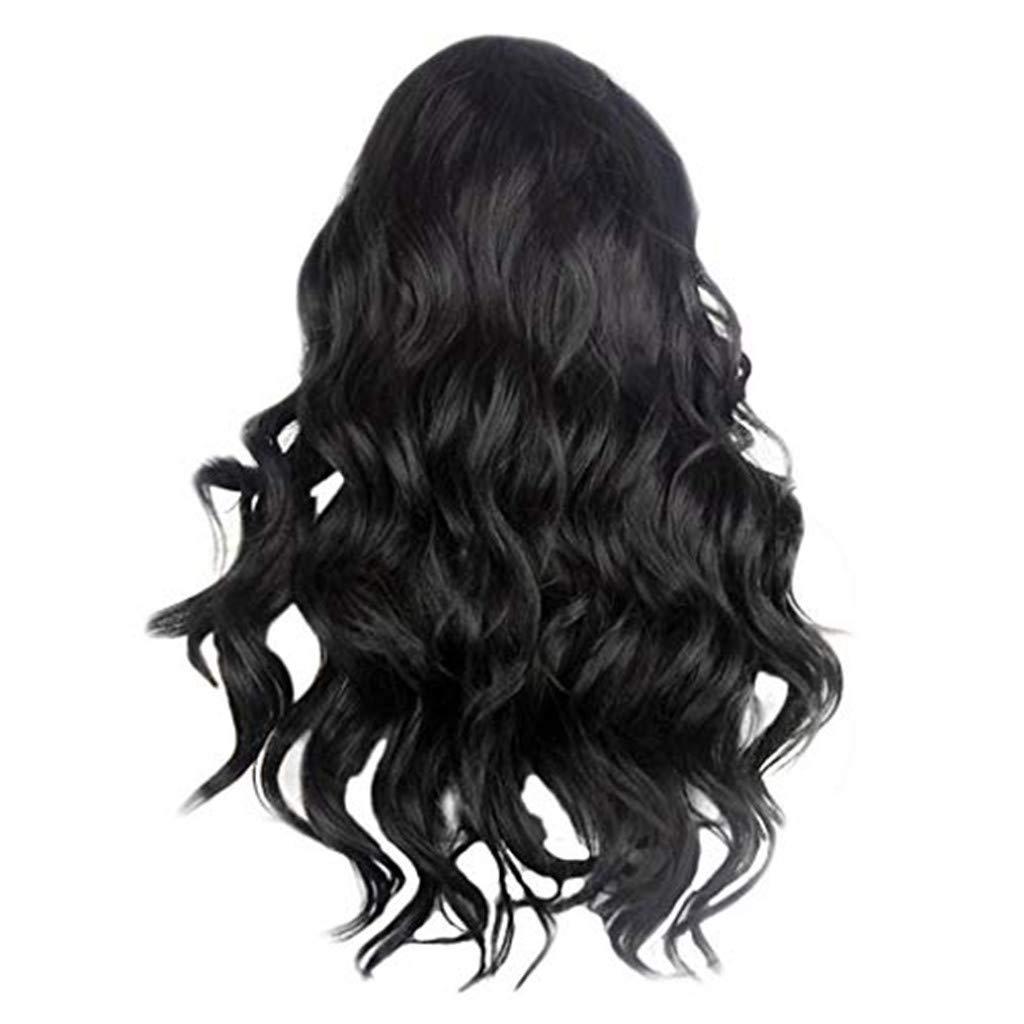 Tigivemen Women's Brazilian Hair Curly Long Wig,Water Wave Black Lace Front Wigs Synthetic by Tigivemen wigs
