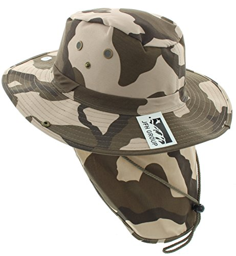 Wide Brim Unisex Safari/Outback Summer Hat w/Neck Flap (Small, Desert Camo Solid)