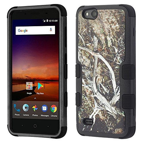 ZTE ZFive C LTE Z558VL Case - TUFF Series [Military Grade Drop Tested - MIL-STD 810G-516.6] Heavy Duty Shock Resistant Protective Case (Camo) and Atom Cloth for ZTE ZFive C LTE Z558VL by ATOM