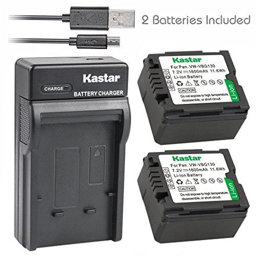 Sd20 Usb - Kastar Battery (X2) & Slim USB Charger for Panasonic VW-VBG070, VW-VBG130, VWVBG260 and SDR-H40, SDR-H80 Series, HDC-HS700, TM700, HS300, TM300, HS250, SD20, HS20, HDC-SDT750 Camcorders etc.