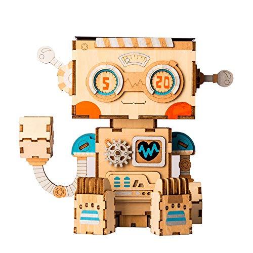 - VDV 3D Wooden Puzzle - Assembly Robot Flower Pot Children Adult Creative Cute 3D Wooden Puzzle Game Models & Building Kits Toy Ft761