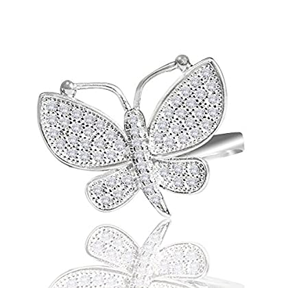 Elegant J. NY Rhodium Plated Dainty Silver Butterfly Stackable Statement Ring With CZ Crystals For W...