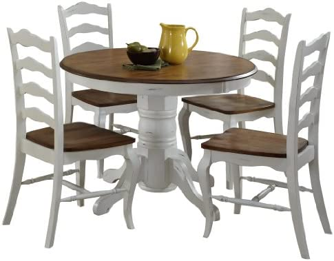French Countryside Oak White 42 Round Pedestal Dining Table