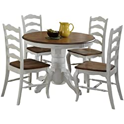 Home Styles 5518-308 The French Countryside 5-Piece Dining Set, Oak and Rubbed White