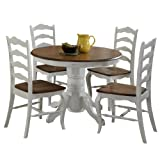 French Countryside Oak/White 42' Round Pedestal Dining Table with 4 Chairs by Home Styles