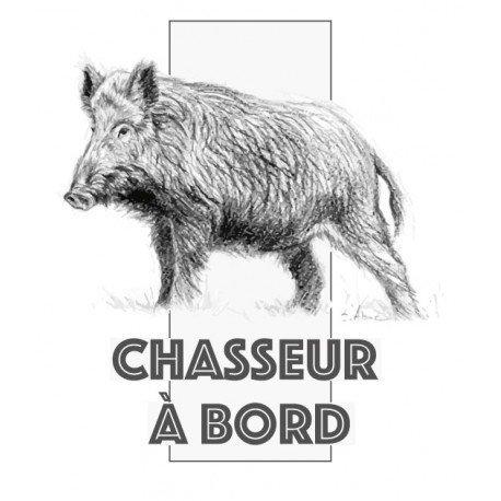 12 cm Autocollant chasseur /à Bord sanglier logo1 sticker