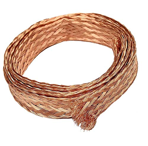 (20ft 6mm Flat Copper Braid Cable Bare Copper Braid Wire Ground Lead)