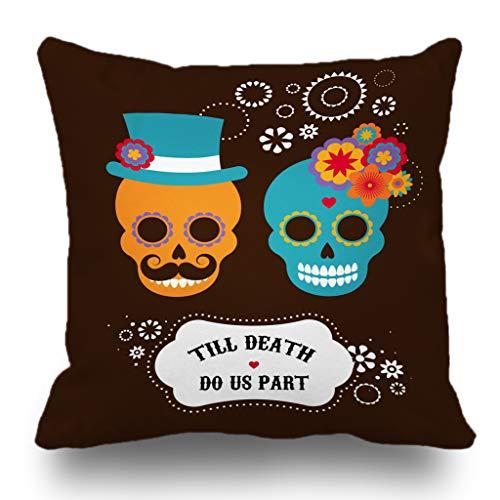 Batmerry Autumn Halloween Thanksgiving Theme Decorative Pillow Covers 18 x 18 inch,Mexican Invitation Two Cute Hipster Dead Skull Halloween Funny Mexico Throw Pillow Covers Sofa Cushion Cover ()