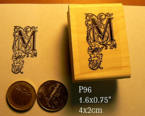 P96 Decorative letter M rubber stamp ()
