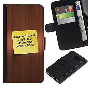 Protector de cuero de la PU de la cubierta del estilo de la carpeta del tirón BY RAYDREAMMM - Sony Xperia Z3 Compact - Buenos días divertidos