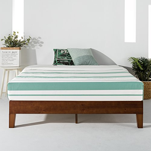 """Mellow 12"""" Solid Wood Platform Bed Frame w/Grand Wooden Slat (No Box Spring Needed), Queen, Espresso"""