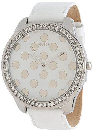 Guess Womens Oversized White Dotty Dial Crystal Accented SS Case Leather Watch W0258L2