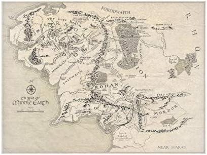 carte terre du milieu hd Poster Star Moon Carte de la Terre du Milieu Le Seigneur des