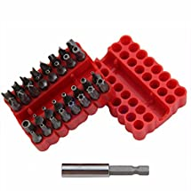 PeachFYE 33pcs Tamper Proof Security Screw Driver Bit Set Hole Torx Hex with Holder PSHG
