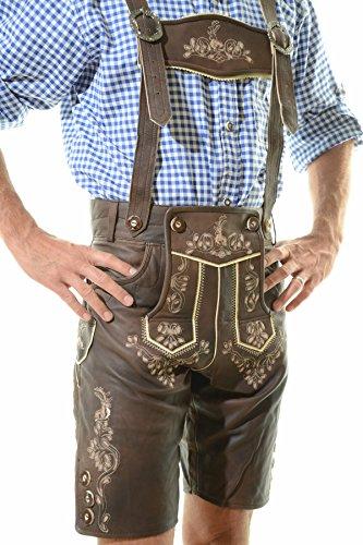 Men's Oktoberfest Lederhosen BERLIN Dark Brown - Oktoberfest Lamb Leather Trousers 36