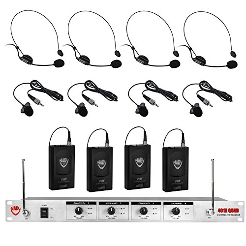 Lavalier Vhf Mic (Nady 401X QUAD Wireless 4-Channel Headset + Lapel / Lavalier Microphone System – 8 Microphone Bundle (HM-3 + LM-14))