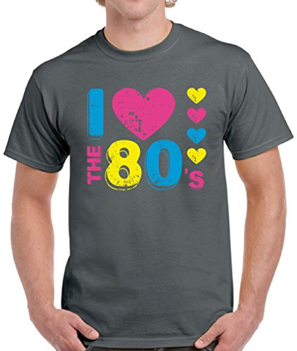 Pekatees Men's I Love The 80's T Shirts Tops Tees 80s Disco Party Perfect 80s Costume Charcoal ()
