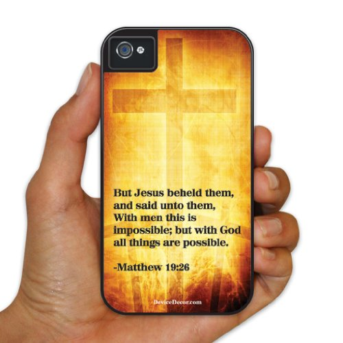 iPhone 4/4s BruteBox Case - Christian Themed - Matthew 19:26 - 2 Part Rubber and Plastic Protective Case