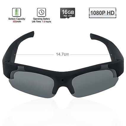 TEKMAGIC 16GB 1920×1080P HD Gafas de Sol con una Cámara Espía Eyewear Videocámara DV