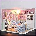 LanLanドールハウスミニチュアDIY家キット木製かわいい部屋with LED家具とカバー女の子ギフトおもちゃ XJSJXP-0718-LW31