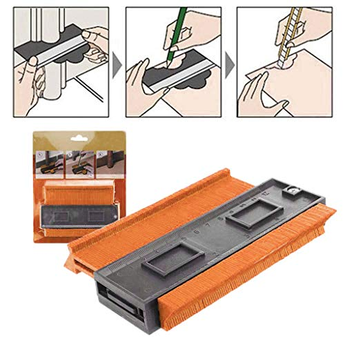 Plastic Contour Copy Duplicator Circular Frame Profile Gauge Tool for Winding Pipes,Circular Frames,Ducts, Marking Precise Tile Cuts, 4 Color Available (Orange, One size) ()