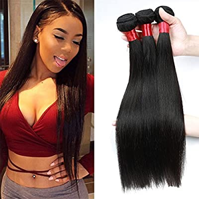 FORRES HAIR Brazilian Straight Remy Human Hair Bundles Natural Black 8a Virgin Unprocessed Brazilian Human Hair Extensions 3 Bundles Human Hair Weave Weft