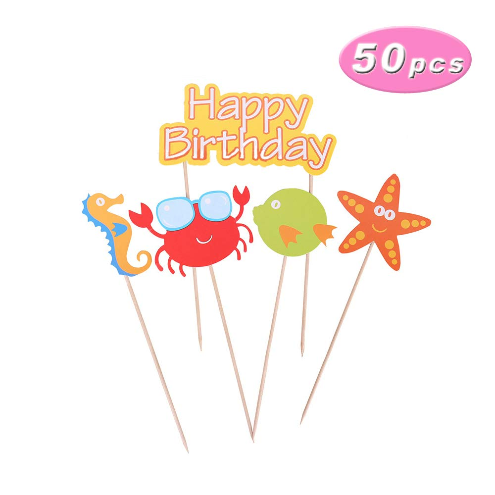 Paper Marine Animals Cupcake Toppers Baking Cake Decoration Ocean Underwater World Series Small Starfish Seahorse Crab Birthday Cake Picks, 10Sets/Pack(total 50 pcs) by Wgg (Image #1)