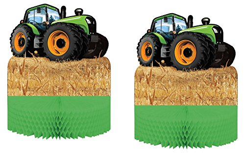 Set of 2 Creative Converting Tractor Time Centerpiece bundled by Maven Gifts