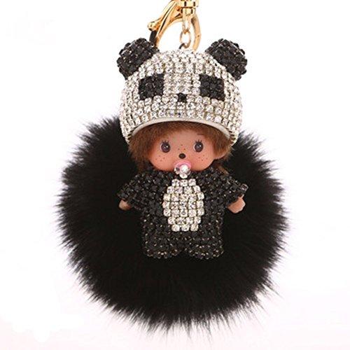 Cute Key Ring Creative Pom Pom Doll Fox Fur Ball Key Chain for / Key Ring / Bags ( Black Keychain)