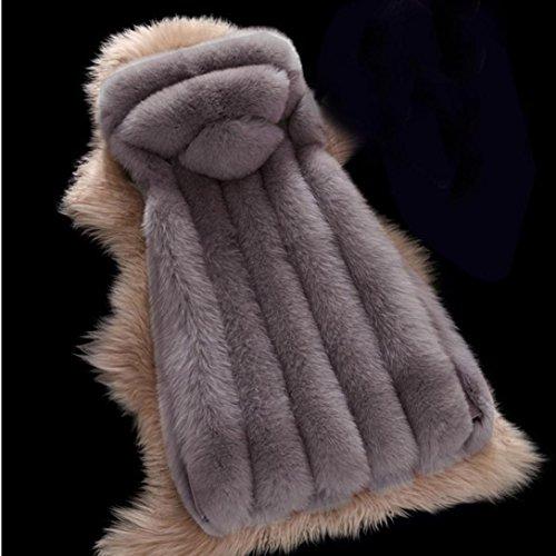Lungo Cappotto Sportiva Cappuccio Grigio Scuro Di Inverno Spesso Di Donne Delle Eco Tuta Harrystore Caldo pelliccia Di Volpe Con Y7wxq1qA