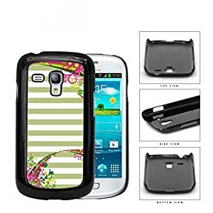 Pastel Olive Green & White Horizontal Stripes With Top & Bottom Floral Flower Vine Swirls Samsung i8190 Galaxy S3 (MINI) Hard Snap on Plastic Cell Phone Case Cover