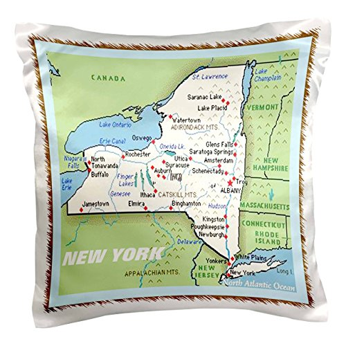 3dRose pc_39025_1 Framed Map of New York State-Pillow Case, 16 by 16