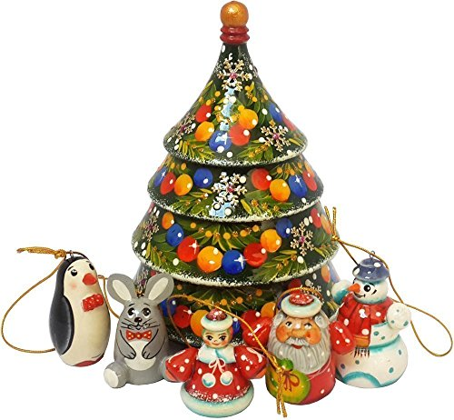 Christmas Tree Nesting Wooden Toy With Tiny Hanging Fairy Figurines - Christmas Tree Decoration - 6 pc Handmade Matryoshka - 6