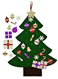 Felt Christmas Tree for Kids- Glitter Edition. 3Ft, wall or door hanging, 30 detachable Christmas ornaments.