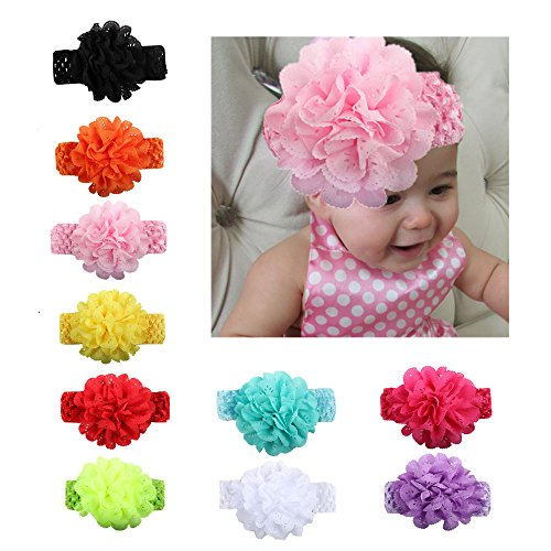 EsTong Baby Girls Elastic Handband Chiffon Flower Hair Accssories For Newborn Toddler And Kids 10Pcs