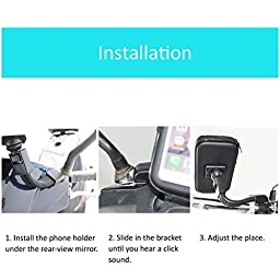 AULLY PARK Waterproof Big Cell Phone Holder for Motorcycle Atv Phone Mount