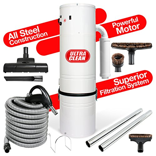 Ultra Clean Central Vacuum Unit 7,500 sq. ft. Air Turbo Power Nozzle 30 foot ON/OFF Control Switch Hose & Set of Wands