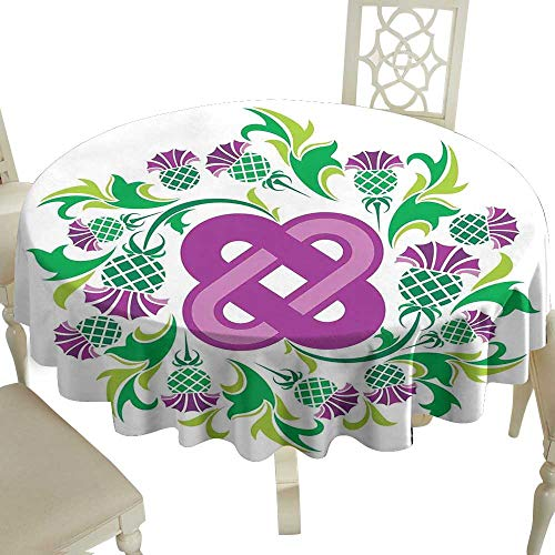 Cranekey Floral Round Tablecloth 36 Inch Celtic,Eternal Life Symbol Celtic Motif Surrounded with Thistle Flower and Leaves Image,Purple Green Great for Buffet Table,Parties,Holiday Dinner & More