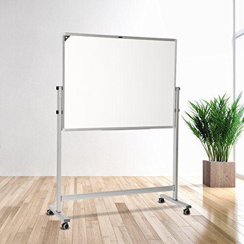 ZHIDIAN rolling White Board with Stand/Magnetic Dry Erase Board Aluminum frame 40x36 Inches Mobile easel /4 markers and 1 eraser 8 magnet by ZHIDIAN