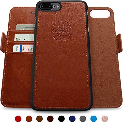Leather Guy Cowhide (Dreem iPhone 7-8 Plus Wallet Case, Magnetic Detachable Slim-Case, Fibonacci Luxury Vegan Leather, RFID Protection - Caramel Brown)