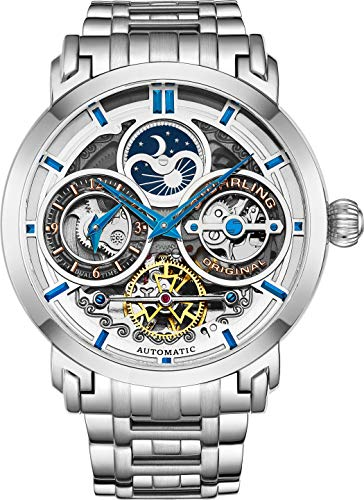 Stührling Original Mens Watch Stainless Steel Automatic, Silver Skeleton Dial, Dual Time, AM/PM Sun Moon, Stainless Steel Bracelet, 371B Watches for Men Series (Silver)