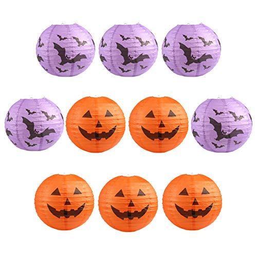 Kesoto 10 PCS Halloween Paper Lanterns Halloween Pumpkin