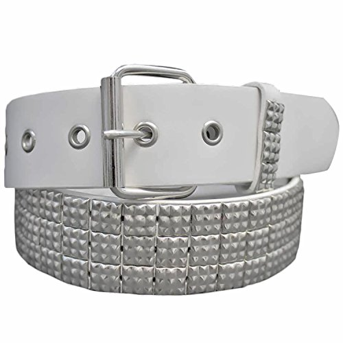 White Silver Pyramid Studded 3 Row Grommet Belt Size Medium
