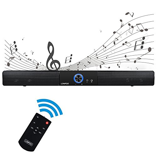 Soundbar for Computer, Mini Bluetooth Sound Bar Wired Audio Stereo for Projector/Computer/Smartphone/MP3 Player (10 Watt Bluetooth Speaker, 20-Inch, Wall Mountable)